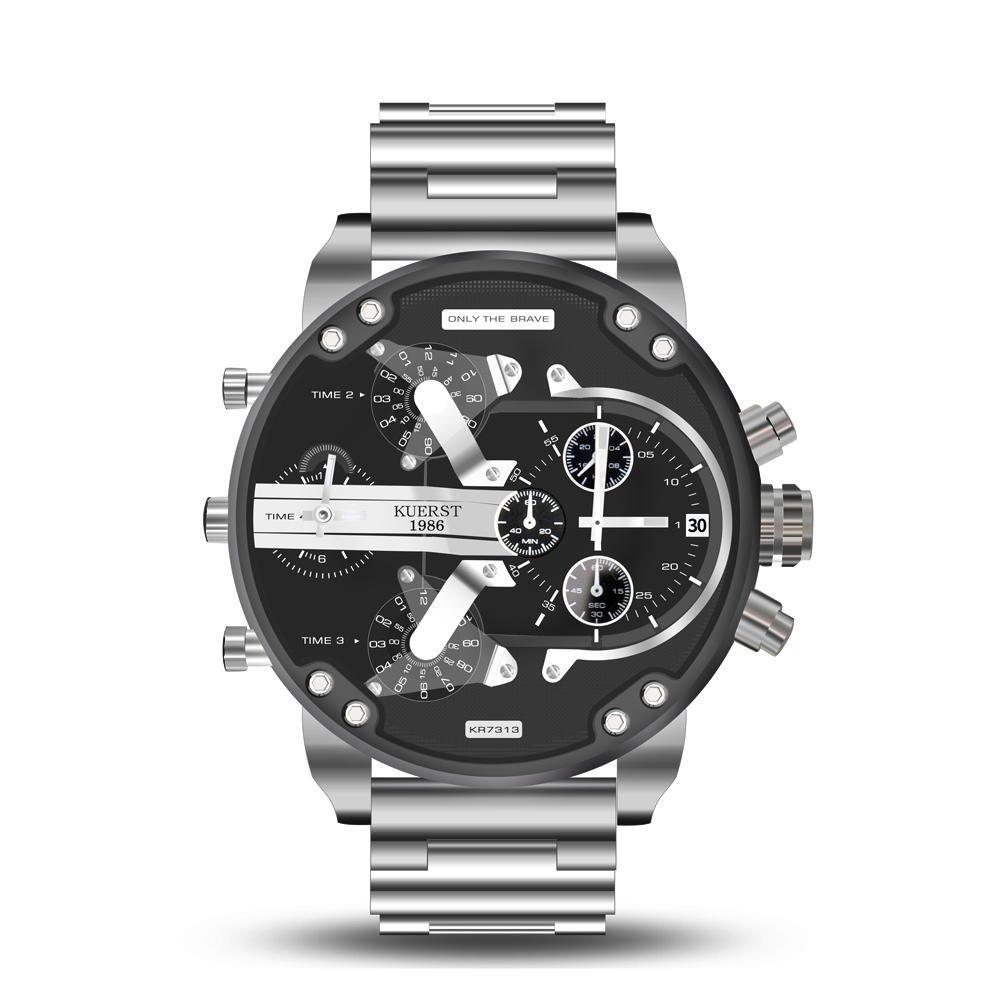 Working Little Dials Waterproof Quartz Watch Unique Design Full Steel Men Wrist Watch