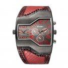 OULM 1220 Multi Time Zone Men Watch Decoration Dials Leather Strap Quartz Watch
