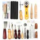 24 Pcs Leather Craft Tools Kit Hand Sewing Stitching Punch Carving Work Saddle