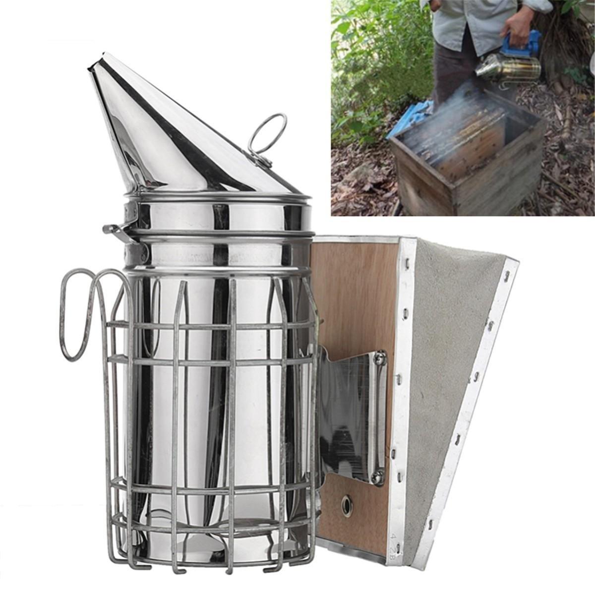 Galvanized Sheet Bee Hive Smoker with Heat Shield Beekeeping Equipment