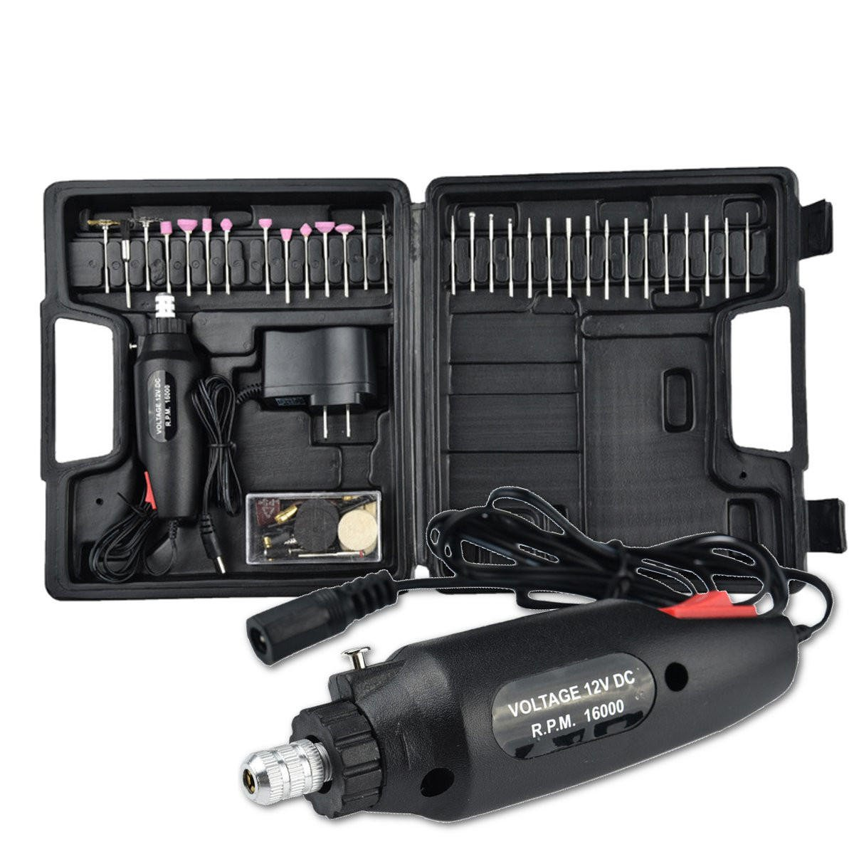 60Pcs Electric Polishing Grinder Rotary Tool Kit 12V Power Drill Machine and Accessories