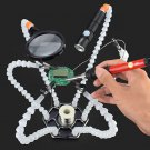 6 Flexible Arms Soldering Vise Helping Hands Third Hand PCB Repair Fixture Magnifying Glass Lens