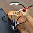 USB LED 3X Magnifier PCB Fixture Bench Vise Table Clamp Soldering Helping Hand