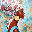 African. Oil on Stretched canvas, signed.