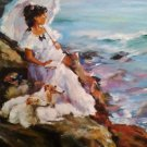 Girl and the Sea. Oil on Stretched Canvas, signed.