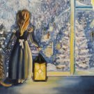 The holiday comes to us...Oil on Stretched canvas, signed.