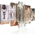 Wall Art Canvas Home Sweet Home Rustic Entryway Living Room Decor 5 Panel New