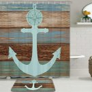 "Anchor Shower Curtain Sets with Non-Slip Rugs, Nautical 70""L x 69""W, Blue2"