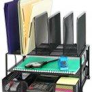 Desk Organizer Storage Mesh Double Tray Black School Office Teacher Classroom