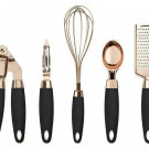 COOK With COLOR 7 Pc Kitchen Gadget Set Copper Coated Stainless Steel Black