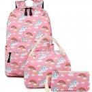 Unicorn Backpack Set 3 Piece Bookbag Girl Kids School Travel Pink Lunch Bag New