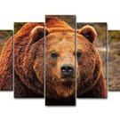 Wall Art Canvas Brown Bear Grizzly 5 Pc Home Decor Wildlife Nature Animal New