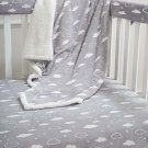 Crib Rail Bedding Set Baby Boy Girl Gray 5 Piece Sheet Blanket Covers Gift New