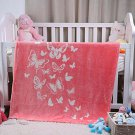 Baby Blanket Ultra Soft Plush Luxury Pink Girl Toddler Kids Large Butterfly New
