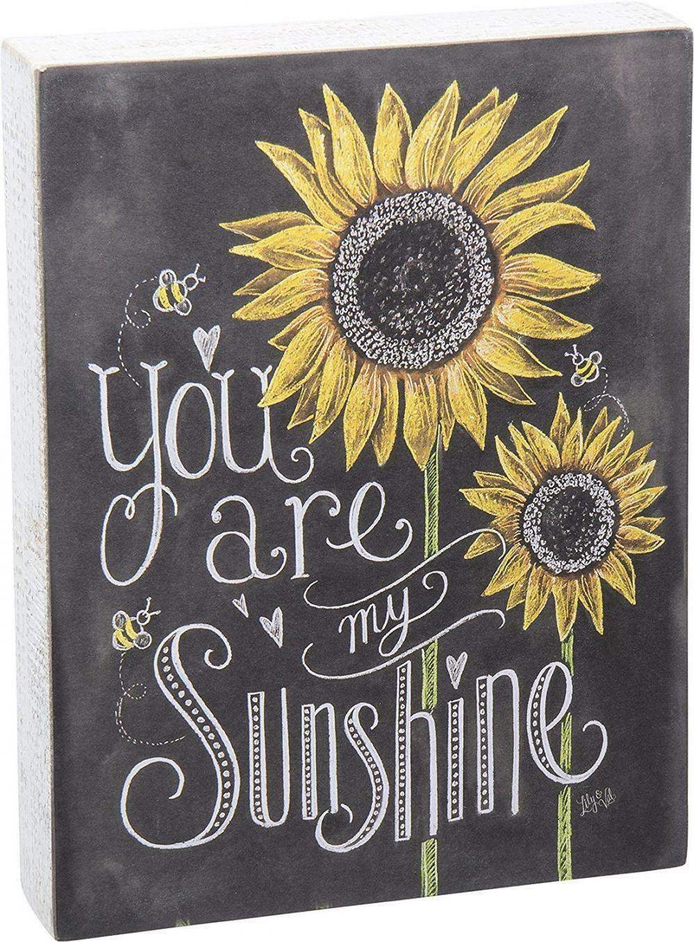 Sunflower Chalk Sign Flower You're My Sunshine Wall Decor Gift Rustic Table NEW