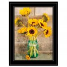 Wall Art Sunflower Decor Picture Black Framed Rustic Home Country Gift New