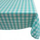 Tablecloth Checkered Square Blue 52x52 Aqua White Cotton Rustic Home Decor New
