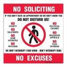 NO SOLICITING NO EXCUSES Decals Signs 4 Vinyl Sticker Door Window Store New