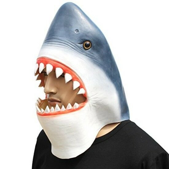 Halloween Costume Shark Animal Mask Head Latex Dress Up Boy Girl Party New