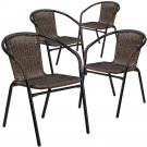 Stack Chairs Set 4 Indoor Outdoor Brown Rattan Patio Yard Garden Furniture New