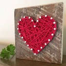 Heart Red String Block Sign Wall Decor Valentines Home Wedding Rustic Gift New