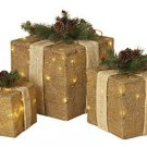 Christmas Gift Boxes Burlap Rustic Decor Indoor Home Light Up Set 3 Large New