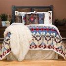 Queen Bedding Set Southwestern Plush Comforter Blue Brown Red Bedroom Gift New