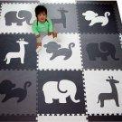 SoftTiles Kids Foam Play Mat - Safari Animals Theme- Black, Gray, White