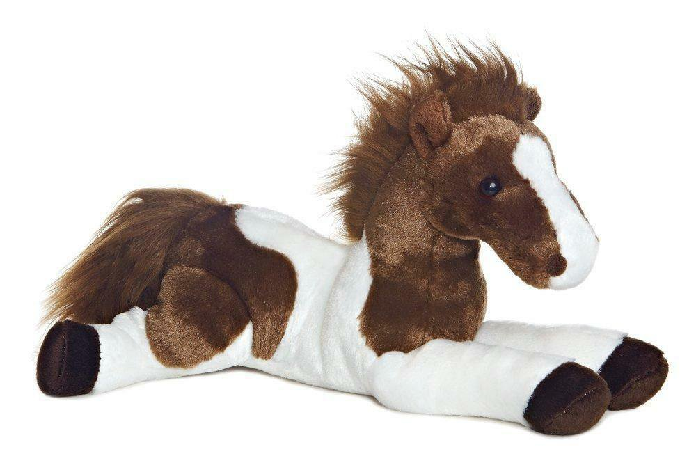 Horse Stuffed Animal 12 Inch Kids Toys Boy Girl Soft Cuddly Gift Brown White New