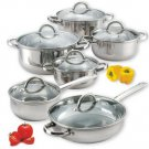 Cookware Set 12 Piece Stainless Steel Pan Fry Stockpot Kitchen Casserole New