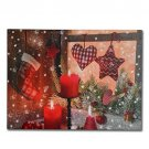Wall Art Canvas Christmas Candles Holiday LED Light Up Home Decor Gift New