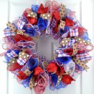 Patriotic Wreath Door Wall Decor Burlap Rustic Red White Blue Party 4th July New