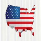 "Shower Curtain USA Map 3D Patriotic 4th July Bathroom Decor 70"" Gift New"