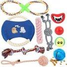 Dog Toy Gift Set 10 Piece Ball Rope Squeak Treat Ball Interactive Pet Animal New