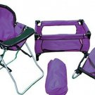 Kids Doll Play Set Pack N Play High Chair Bouncer 3 In 1 Pretend Purple Gift New
