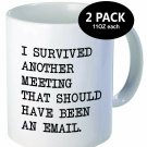 Coffee Cup Mug Set 2 Survived Meeting Email Funny Humor Work Gift Him Her New