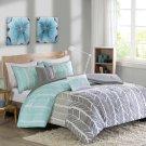 Full Queen Bedding Set Blue Aqua Grey Gray Geometric 5 Piece Comforter Shams New