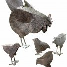 Hen Chicks Chickens Rooster Garden Sculpture Set Country Farmhouse Gift New
