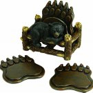 Black Bear Paw Coaster Set Rustic Cabin Home Decor 5 Piece Gift Drink Holder New