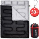 Ohuhu Double Sleeping Bag with 2 Camping Pillows, Waterproof Black, Thicken