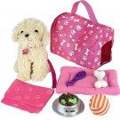 Doll Puppy Set Dog Kids Toys Pretend Play Ball Bone Blanket Girl Gift NEW