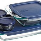 Bakeware Food Storage Containers Set 8 Piece Pyrex Glass Kitchen Baking New