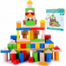 Kids Blocks Wooden 100 Piece Building Toy Toddler Learn STEM Boy Girl Gift New