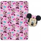 "Kids Minnie Mouse Throw Blanket Pillow Set Girl Gift Travel 40x50"" 2 Pc New"
