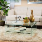 Classon Square Glass Coffee Table w/ Shelf