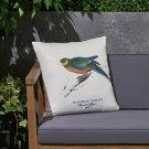 "Alma Outdoor Cushion, 17.75"" Square, Parrot Print, Vintage, White, Green, Blue,"