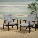 Suffolk Mid-Century Button Tufted Fabric Arm Chairs with Wood Frame (Set of 2)