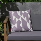 """Betty Outdoor Cushion, 17.75"""" Square, Abstract Geometric Pattern, White, Gray"""