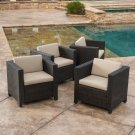 Bowden Outdoor Brown Wicker Club Chairs w/ Cushions (set of 4)