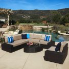 Reddington 7pc Outdoor Brown Wicker Sofa Set w/ Cushions
